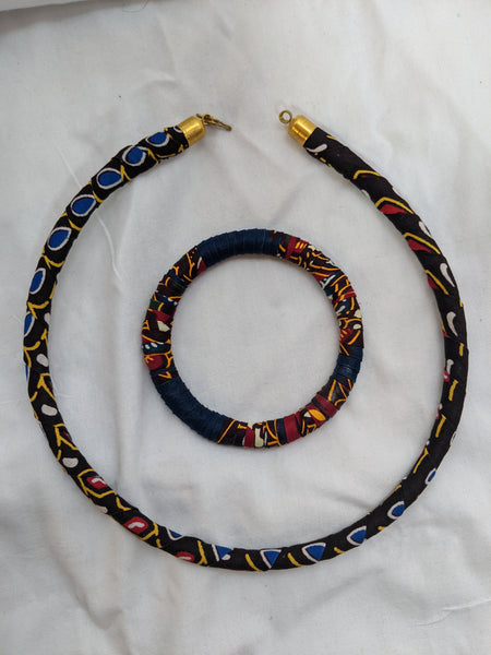 African Print Ankara cotton Fabric wrap material necklace bracelet set brown red yellow gold blue white