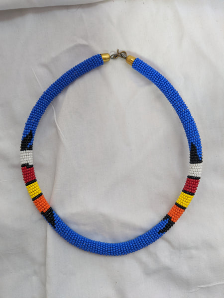 African Maasai beaded necklace blue red yellow gold orange black
