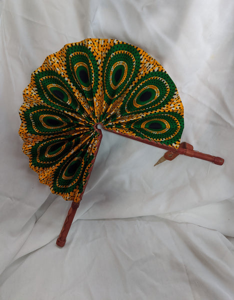 Colorful Ankara Fabric foldable hand fan with leather handles 1.1 green gold orange black white