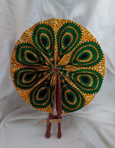 Colorful Ankara Fabric foldable hand fan with leather handles 1 gold orange black white green