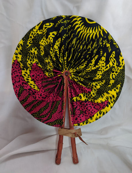 Colorful Ankara Fabric foldable hand fan with leather handles 2 yellow pink black