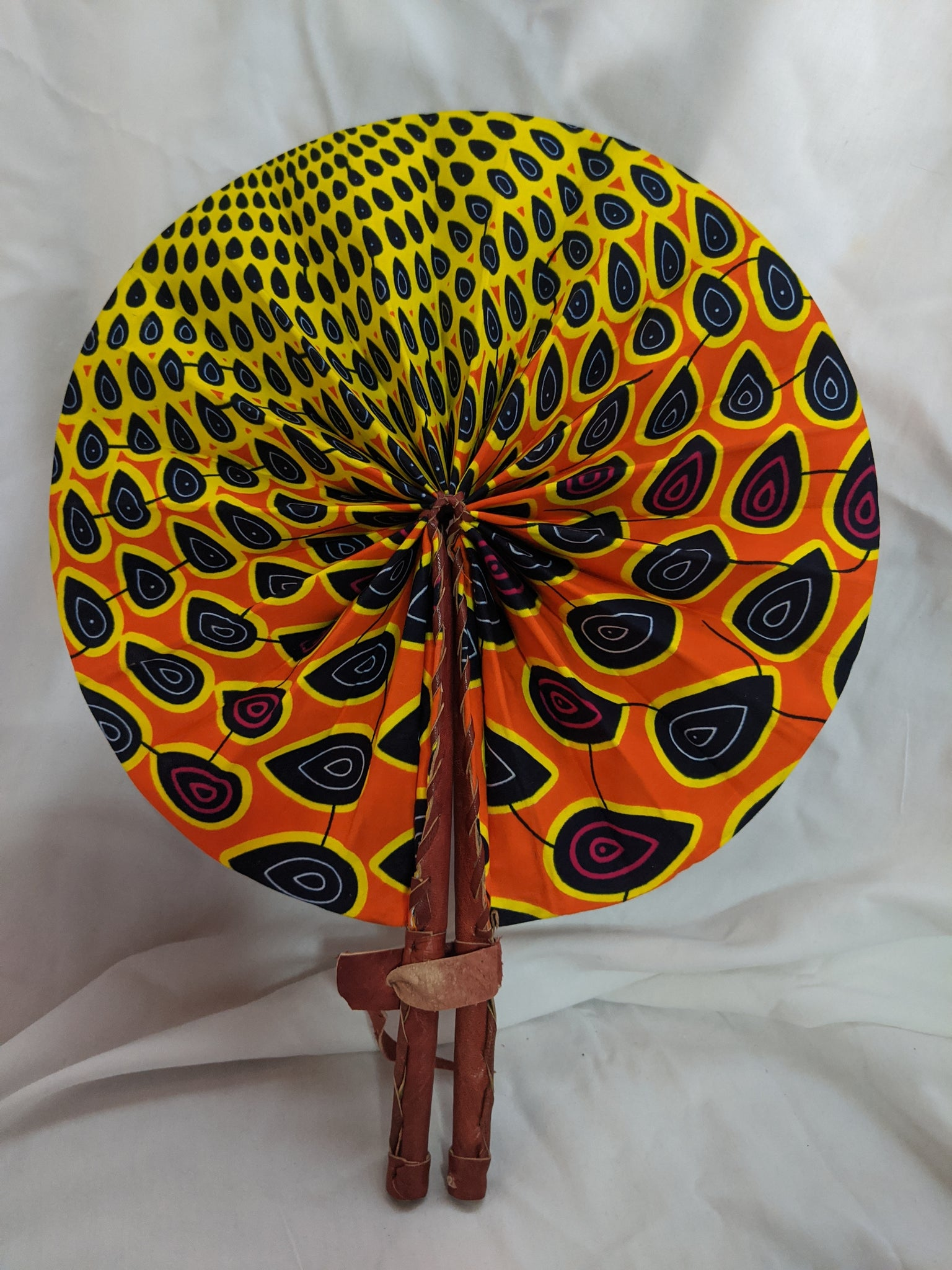 Colorful Ankara Fabric foldable hand fan with leather handles 3 peacock tear drops yellow gold orange red black