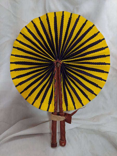 Colorful Ankara Fabric foldable hand fan with leather handles 4 yellow purple