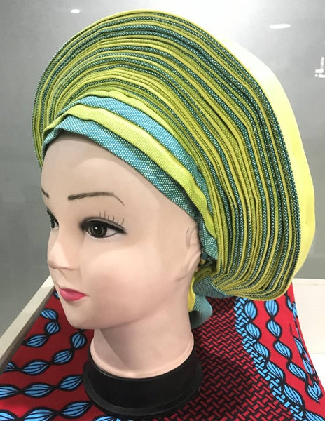 Colorful Pre-Made easy pre-tied African cotton material Headwrap Gele lime sky blue
