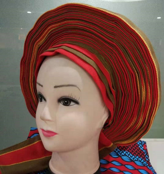 Colorful Pre-Made easy pre-tied African cotton material Headwrap Gele red olive green