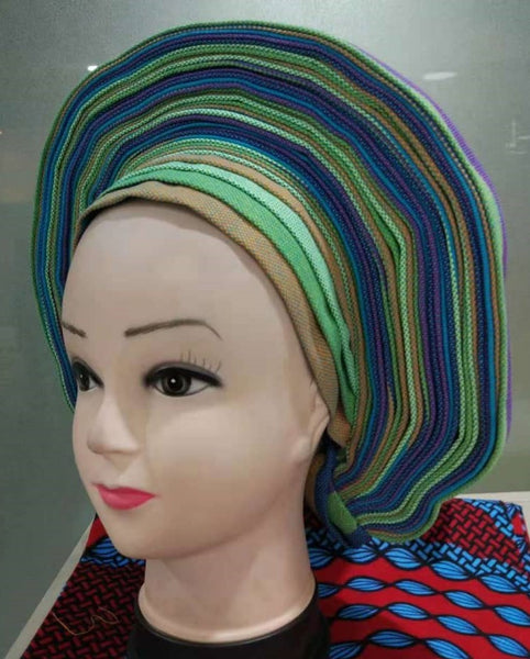 Colorful Pre-Made easy pre-tied African cotton material Headwrap Gele light brown lime blue purple