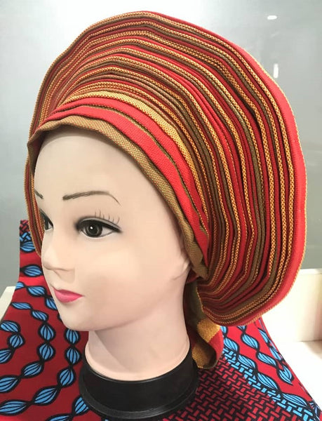 Colorful Pre-Made easy pre-tied African cotton material Headwrap Gele brown gold red