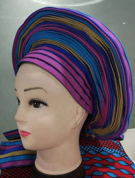 Colorful Pre-Made easy pre-tied African cotton material Headwrap Gele purple blue gold
