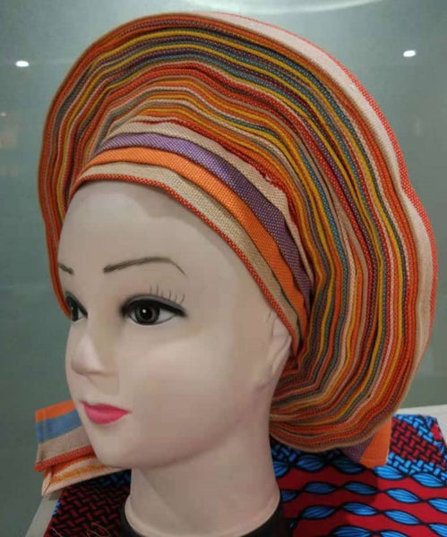 Colorful Pre-Made easy pre-tied African cotton material Headwrap Gele cream orange purple red