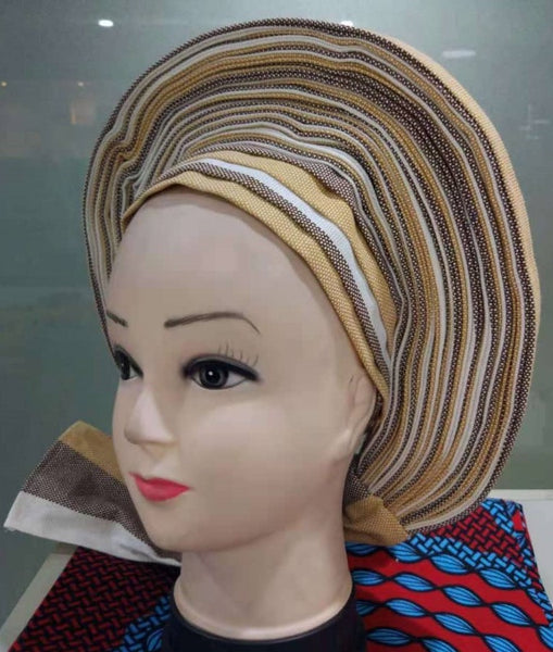 Colorful Pre-Made easy pre-tied African cotton material Headwrap Gele cream white brown