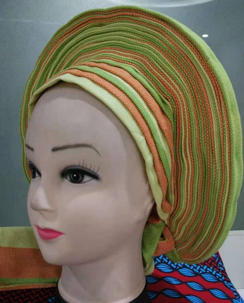 Colorful Pre-Made easy pre-tied African cotton material Headwrap Gele lime orange