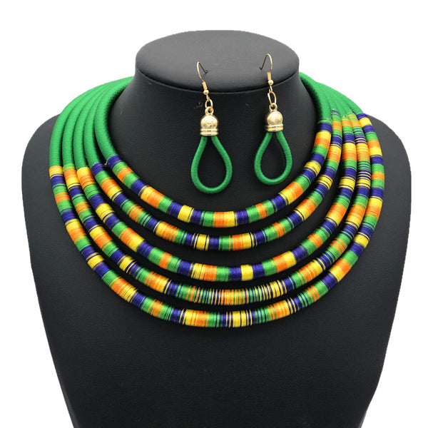 Green multilayer colorful fabric choker jewelry set