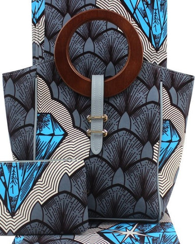 Ankara Cotton fabric with wooden handle hand bag pocketbook with matching face mask, wallet, head tie, head wrap and shawl sold separately gray white sky blue black