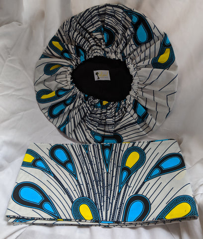 Colorful Ankara cotton fabric material head wrap, head tie, gele reversible. Have matching wallet, shawl, face mask and/or handbag, if available. sky blue yellow white black