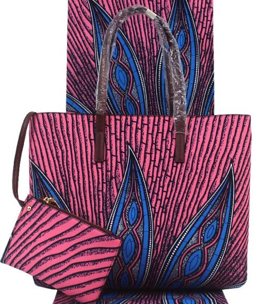 Ankara Cotton fabric with synthetic leather handle hand bag pocketbook attached wallet with matching face mask, head tie, head wrap and shawl sold separately pink blue black white