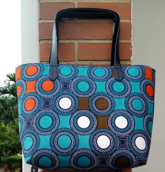 Colorful casual tote bag cotton material with synthetic Leather straps orange blue white turquoise