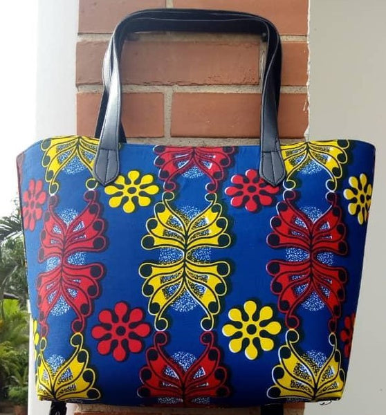 Colorful casual tote bag cotton material with synthetic Leather straps blue yellow red black