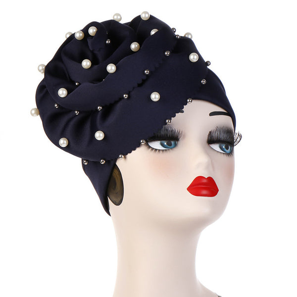 Polyester stretchable large pearls stylish one size fits adjustable hat cap navy blue