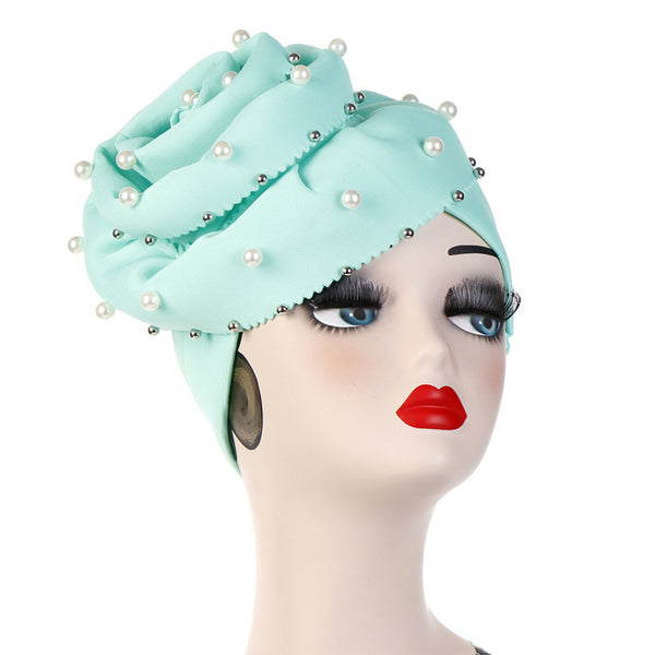 Polyester stretchable large pearls stylish one size fits adjustable hat cap mint green