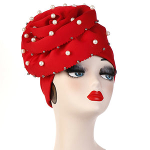 Polyester stretchable large pearls stylish one size fits adjustable hat cap red