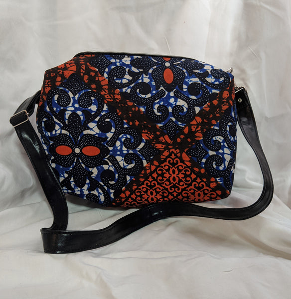 Colorful casual hand bag cotton material with synthetic Leather strap red black blue white