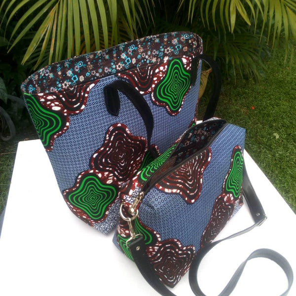 Colorful casual tote and hand bags cotton material with synthetic Leather straps blue green brown white