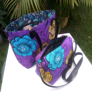 Colorful casual tote and hand bags cotton material with synthetic Leather straps purple sky blue brown white