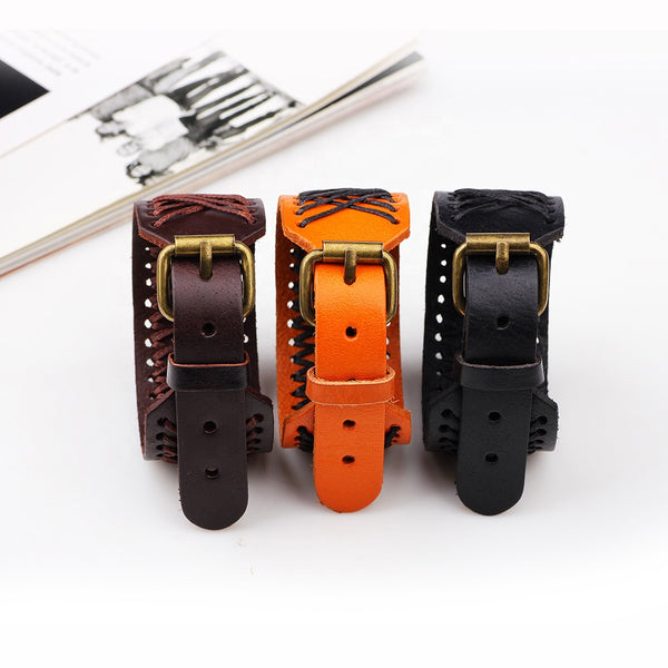 Unisex male female leather wristband adjustable bracelet strap brown tan black