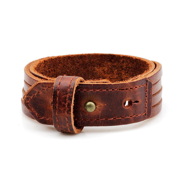 Unisex male female leather wristband adjustable bracelet strap brown