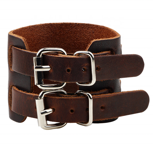 Unisex male female leather wristband adjustable bracelet double strap brown