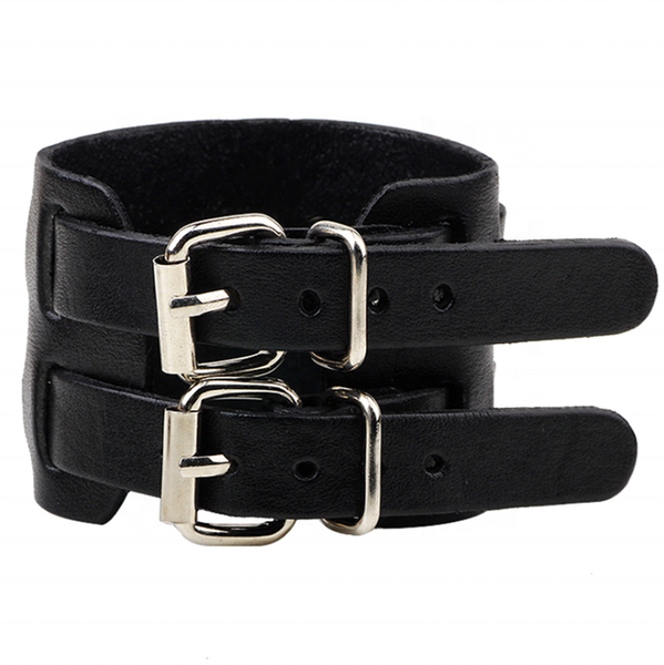 Unisex male female leather wristband adjustable bracelet double strap black