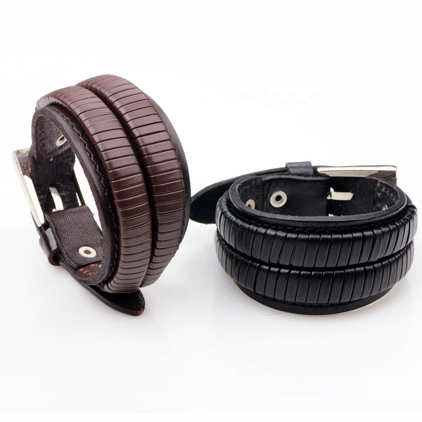Unisex male female leather wristband adjustable bracelet strap brown black