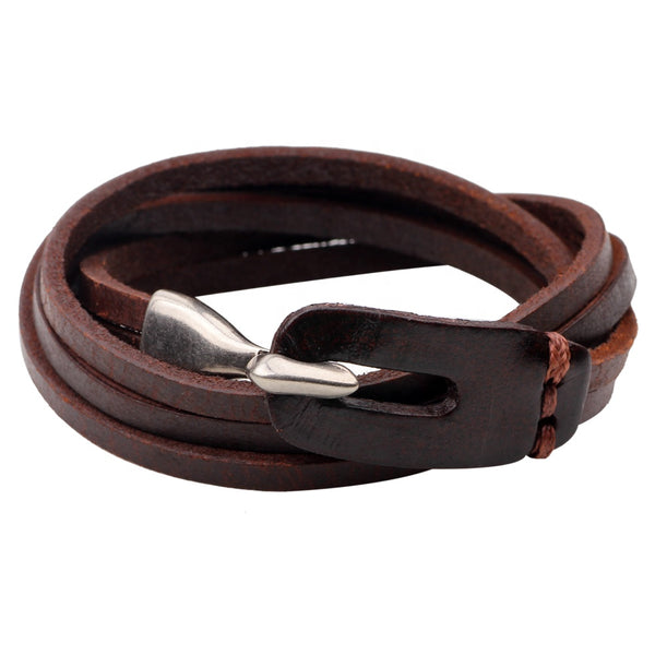 Unisex male female leather wristband wrap around hook bracelet brown