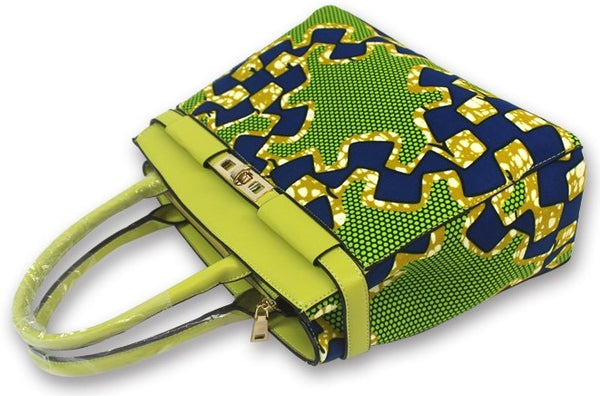 Ankara Cotton fabric with synthetic leather handle hand bag pocketbook with matching face mask, head tie, head wrap and shawl sold separately lime green blue white