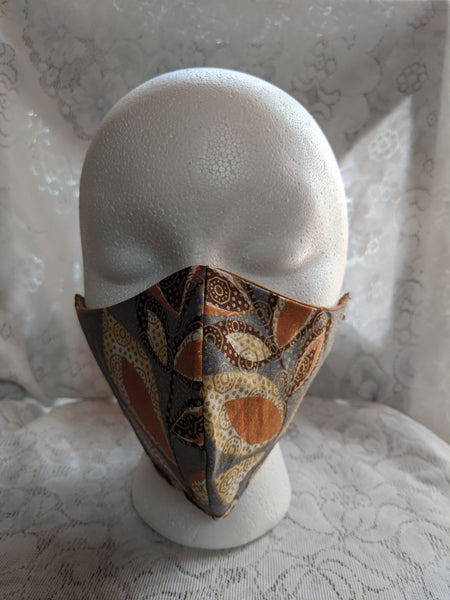 African Ankara cotton fabric face mask. Matching necktie with handkerchief sold separately. gray peach brown cream gold