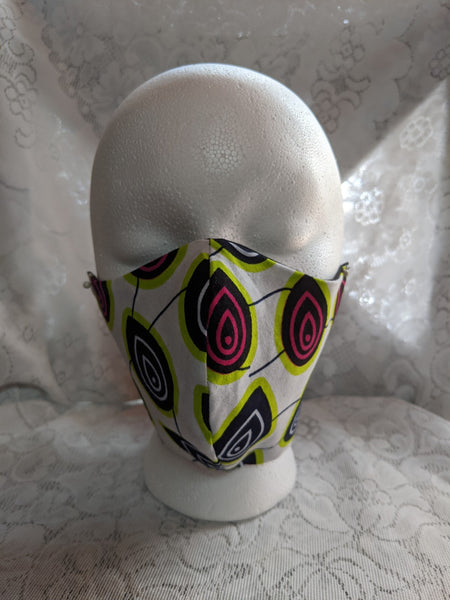 African Ankara cotton fabric face mask. Matching necktie with handkerchief sold separately. pink lime green white black tear drops peacock