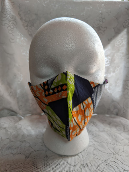 African Ankara cotton fabric face mask. Matching necktie with handkerchief sold separately. lime green orange blue white