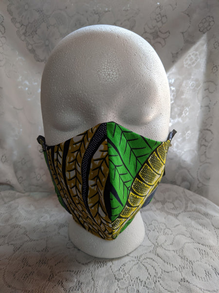 African Ankara cotton fabric face mask. Matching necktie with handkerchief sold separately. tropical green gold yellow blue white