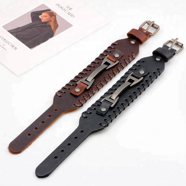Unisex male female leather wristband adjustable metal bracelet strap brown black