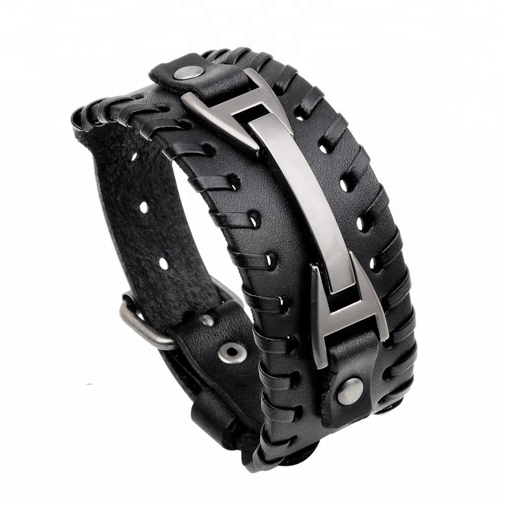 Unisex male female leather wristband adjustable metal bracelet strap black