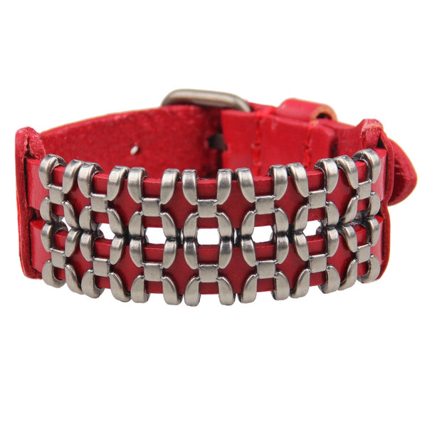 Unisex male female leather wristband adjustable metal bracelet strap red