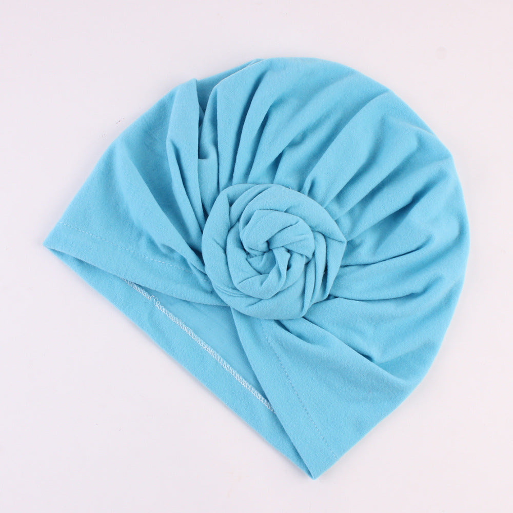 Cotton stretcable stylish one size fits adjustable flat knot hat cap adult female child sky blue