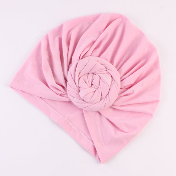 Cotton stretcable stylish one size fits adjustable flat knot hat cap adult female child pink