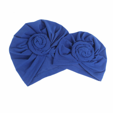 Cotton stretcable stylish one size fits adjustable flat knot hat cap royal blue adult female parent mother child