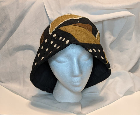 Traditional Authentic Genuine African Mud Cloth Reversible Brim woman hat.