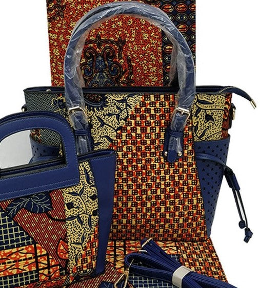 Ankara Cotton fabric with synthetic leather handle hand bag pocketbook  blue red cream