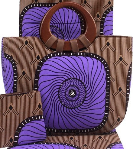 Ankara Cotton fabric with wooden handle hand bag pocketbook with matching face mask, wallet, head tie, head wrap and shawl sold separately purple brown