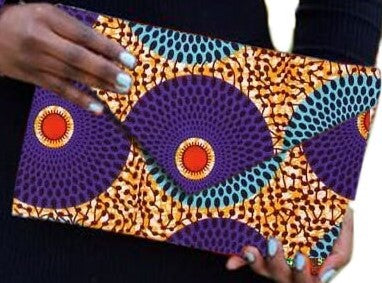 Purple African Print Ankara cotton Fabric material Clutch bag. Matching earrings, bracelet and necklace sold separately.