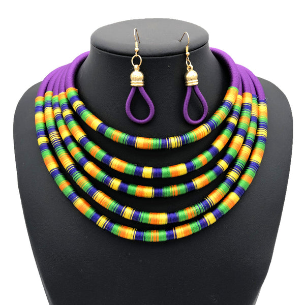 Purple multilayer colorful fabric choker jewelry set