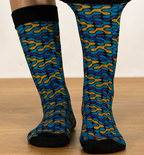 Unisex male female colorful cotton lycra good quality fabric blue yellow black puzzle design  socks